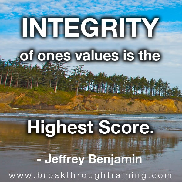 Integrity of Ones Values is the Highest Score.