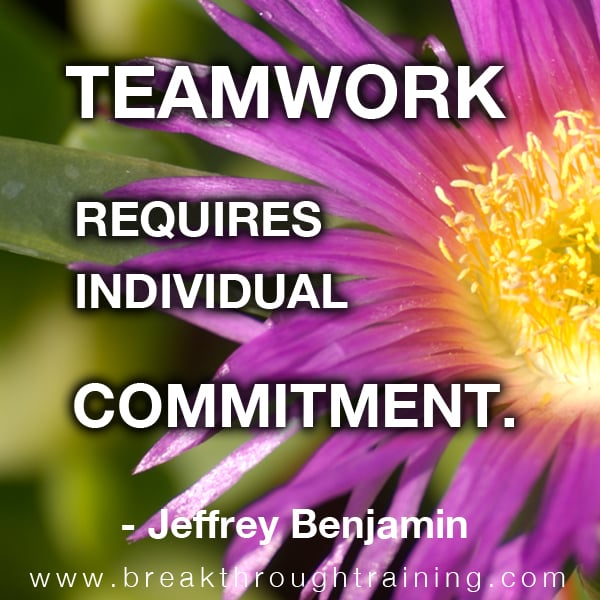 Teamwork Requires Individual Commitment.