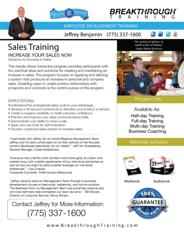 Sales Training Program  Breakthrough Training   Breakthrough
