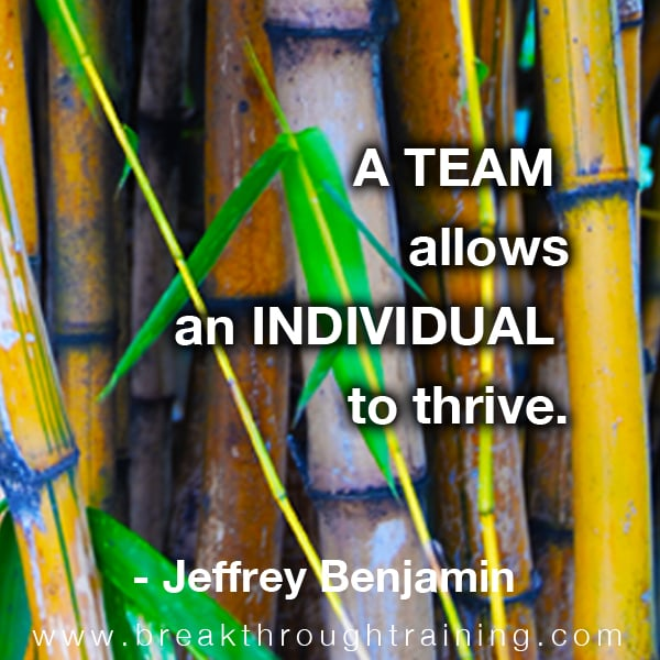 A team allows an individual to thrive.