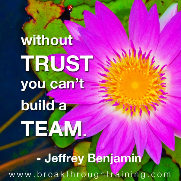 Without trust you can't build a team.