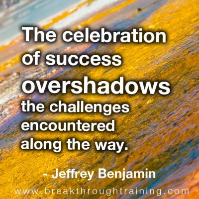 The celebration of success overshadows the challenges encountered along the way.