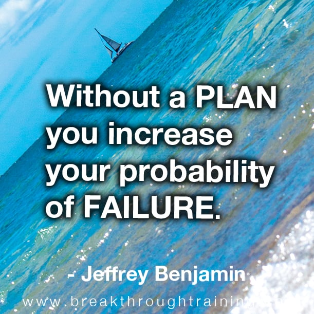 Without a plan you increase your probability of failure.